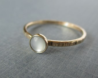 Tiny Stacking Rings - NOW in Gold-Fill and 14k - Shown with Mother of Pearl - Your choice of stone