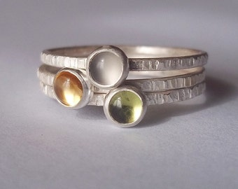 Soft Misty Morning - Tiny Gemstone Stacking Ring Trio set - Sterling and Fine Silver - Peridot, Citrine and Grey (Gray) Moonstone