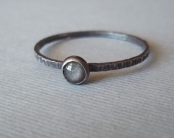 Tiny Grey Velvet Ring - Silver Obsidian - Sterling and Fine Silver