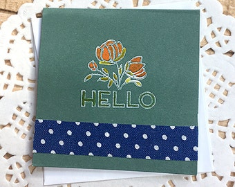 """Hello Floral Mini-Card 2, Gift Tag, Forest Green, Flowers, Navy Blue, Polka Dots, Hello, Friend, Fun, Thinking of You, Big Smile - 3"""" square"""