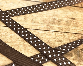 """1 Yard of Thin Chocolate Brown with White Polka Dots Grosgrain Ribbon, Trim, Edging, Border, Embellishment, Sewing, Scrapbooking - 3/8"""" Wide"""