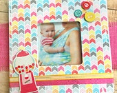 Gumball Machine Buttons, Bright Chevrons 8 quot x 8 quot Decoupaged Wood Frame for 3.5 quot x 3.5 quot Photo, Baby, Girl, Bubble Gum, Children 39 s Room, Fun