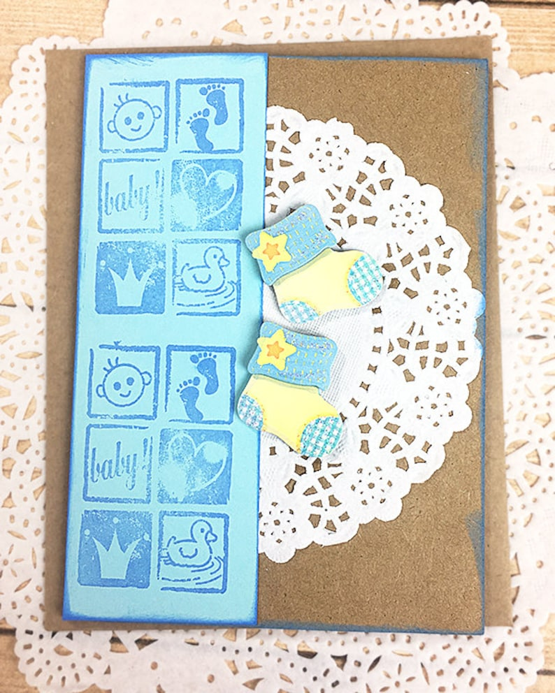 Blue Happy Little Baby Boy Booties Congratulations Card Welcome Baby Duck Stars Son Foot Prints New Arrival Cartoons 4 x 5.5