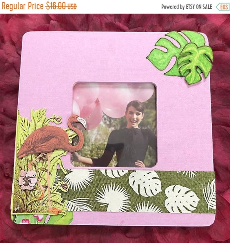Vacation Photo Summer Palm Leaves Warm for 3.5 x 3. ON SALE Tropical Flamingo 8 x 8 Decoupaged Wood Frame Florida Memory Flowers