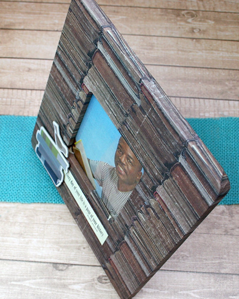 Reader Family History Stacked Books 8 x 8 Decoupaged Wood Frame Author Writer Library Teacher for 3.5 x 3.5 Photo Librarian