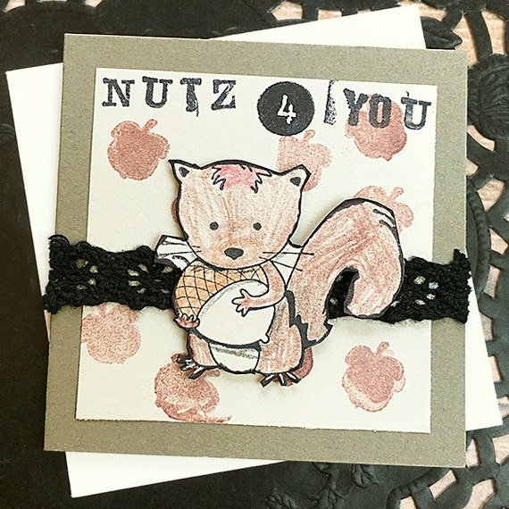 nutz 4 you mini card gift tag squirrel nuts acorns funny etsy