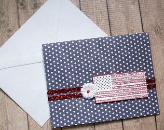 Oh Say, Can You See Patriotic Note / Greeting Card - 5.5 inches by 4.25 inches, Military, Veteran, Thank You, Service