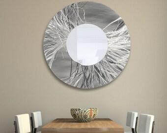 "Extra Large Silver Modern Metal Wall Art Mirror, Abstract Hanging Wall Decor, Handmade Circle Wall Mirror - Mirror 104 XXL 40"" by Jon Allen"