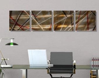 Red Black & Brown Abstract Metal Art - Earthtoned Handmade Square Modern Metal Accents - Multi-Piece Wall Decor - Battleground by Jon Allen