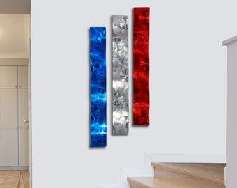 Statements2000 Metal Wall Sculpture Modern Silver Blue Red USA Decor Jon Allen