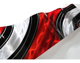 Red Black & Silver Modern Metal Wall Art - Striped Abstract Metal Wave - Handmade Contemporary Wall Accent - Critical Mass Wave by Jon Allen