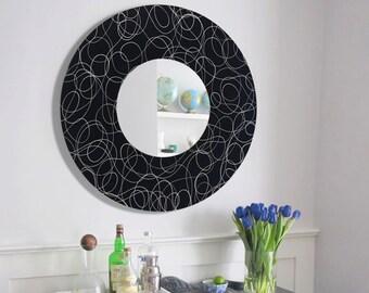 Round Black & Silver Contemporary Circle Mirror, Modern Hanging Mirror Accent, Decorative Metal Wall Art Sculpture - Mirror 121 by Jon Allen