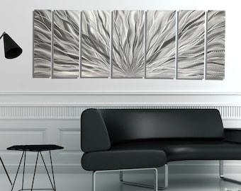"Large Metal Wall Art, Multi Panel Wall Art, Indoor Outdoor Art, Abstract Wall Hanging Sculpture 68"" x 24"" - Silver Plumage by Jon Allen"