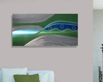 Green, Blue & Silver Abstract Wall Painting, Large Modern Metal Wall Art, Contemporary Home and Office Decor - Verde Stream by Jon Allen