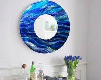 Contemporary Aqua Blue   Teal Circle Wall Mirror 8ad22ec7227