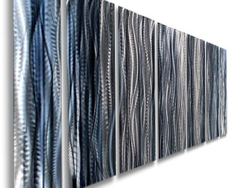 Large Blue, Silver U0026 BlackMulti Panel Modern Metal Wall Art, Contemporary  Wall Sculpture, Indoor Wall Decor   Ashen By Jon Allen