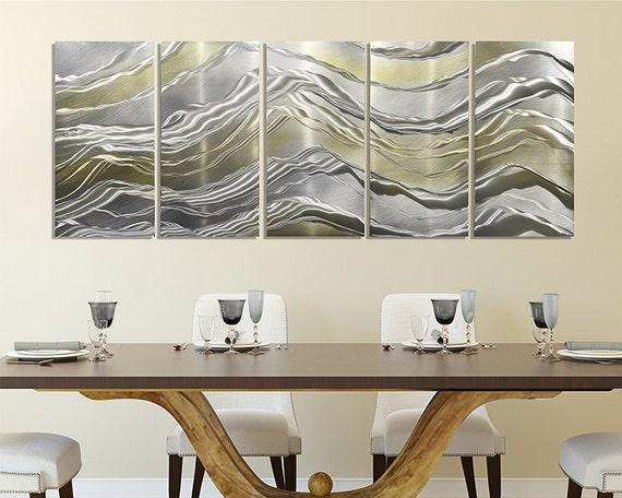Gold & Silver Metal Panel Painting Modern Metal Wall Art