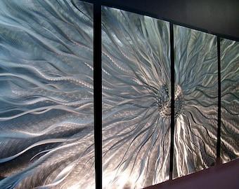 Metal Wall Art, Abstract Wall Sculpture, Indoor Outdoor Art, Modern Metal Art, Metallic Silver Wall Hanging Decor - Static by Jon Allen