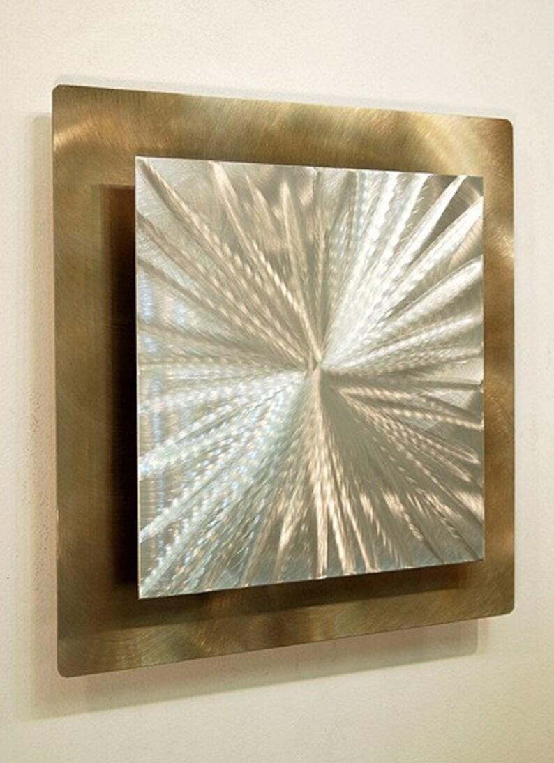 Contemporary Art Gold Metal Wall Art Abstract Wall Hanging Office Decor 3D Wall Sculpture Supernova by Jon Allen