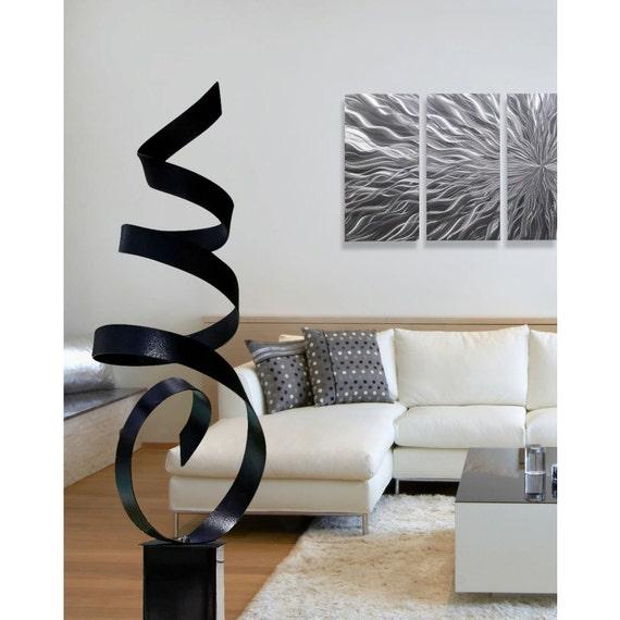 Sculpture en métal moderne noir Cour Art grande Statue   Etsy