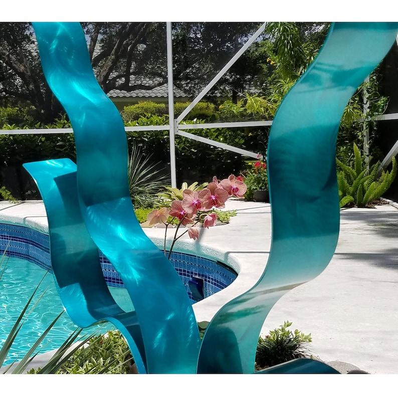Aqua Modern Metal Art Sculpture Handmade Indoor Outdoor Contemporary Art Home /& Garden Decor Aqua Reaching Out by Jon Allen