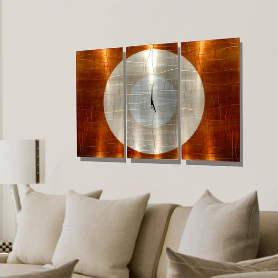 Large Metal Wall Clock Abstract Functional Art Modern Etsy