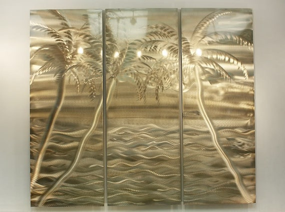 on sale tropical beach scene metal wall art gold modern. Black Bedroom Furniture Sets. Home Design Ideas