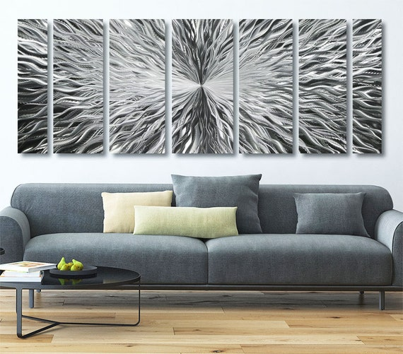 Extra Large Modern Metal Wall Art In Silver Contemporary ...