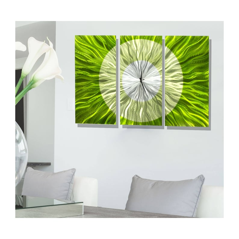 Statements2000 Abstract Modern Metal Wall Art Clock by Jon Allen Golden Burst