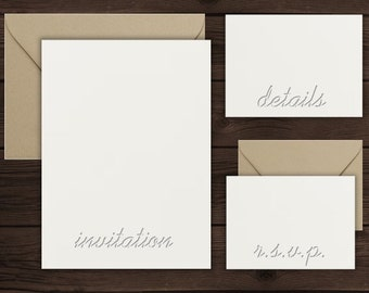 Download Free Invitation Suite Mockup | Simple Mockup | Wedding Invitation Suite Mockup | Dark Wood Background | Neutral Stationery Set PSD Template