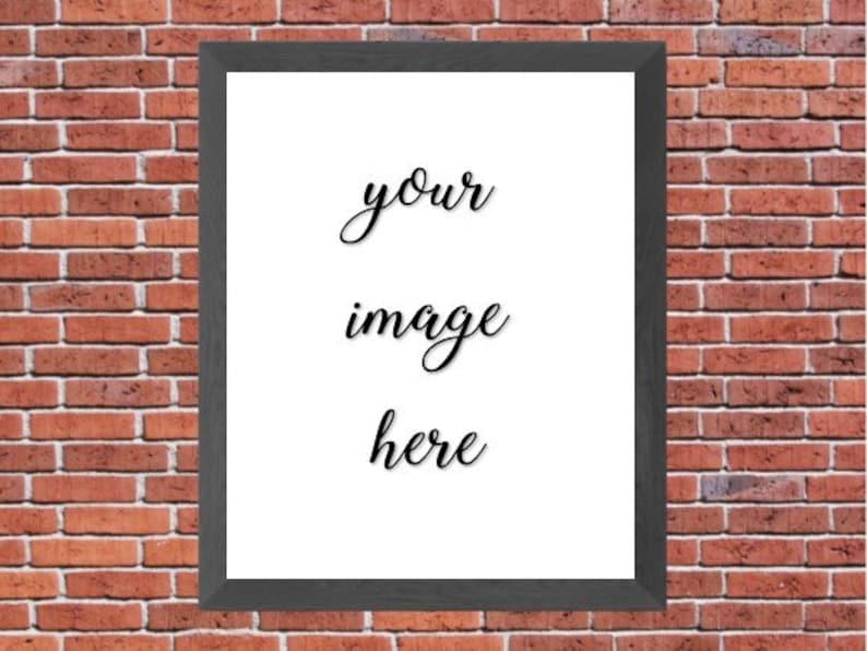Digital Mockup Red Brick Wall Gray Frame Simple Mockup Etsy Listing Display Photo Display Photo Paper Goods Layout