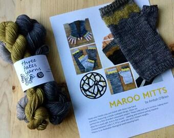 Maroo fingerless mitten knitting kit  - helios fingering weight