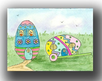 Easter EGGS ACEO watercolor LANDSCAPE 7 card draw