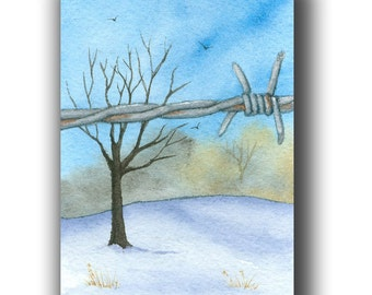 watercolor ACEO original FENCE other side