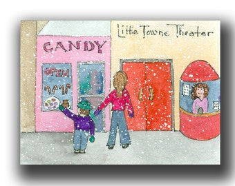 ACEO watercolor painting candy & MOVIE miniature original small town Christmas Vacation