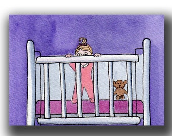 ACEO watercolor and pen NAPTIME 7 card draw