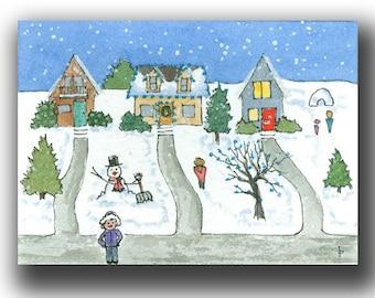 ACEO watercolor LIGHTS miniature original painting neighborhood