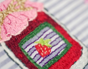Strawberry Jam Recipe - Embroidered Decor Art Hankie