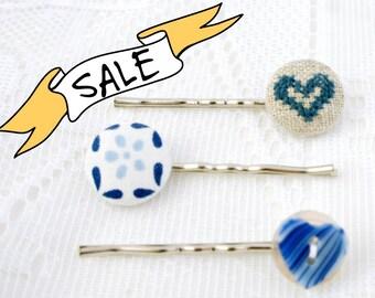SALE - Delft Blue - Hair Pin Trio