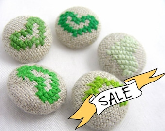 SALE - Green Hearts - Hand Embroidered Buttons