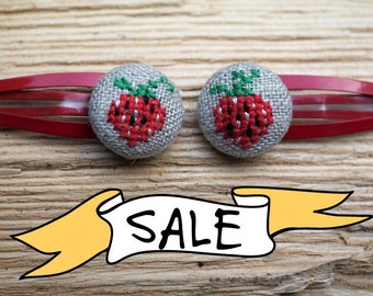 SALE - Red Strawberries - Hair Clip Duo