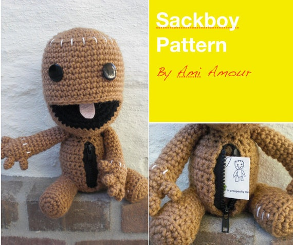 Sackboy Muster häkeln Amigurumi Open Mouth Zipper