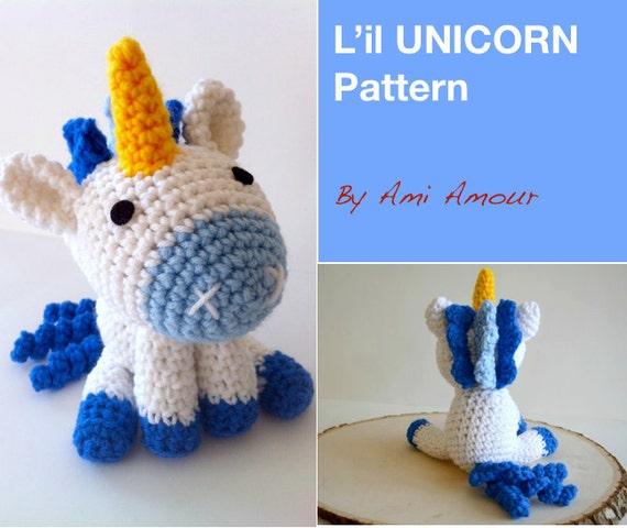 Crochet unicorn pattern  amigurumi pdf tutotial Mini Unicorn Rooni  pattern by NansyOops