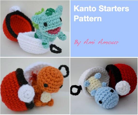 Kanto Starters Crochet Pattern Set Amigurumi Pokemon Etsy