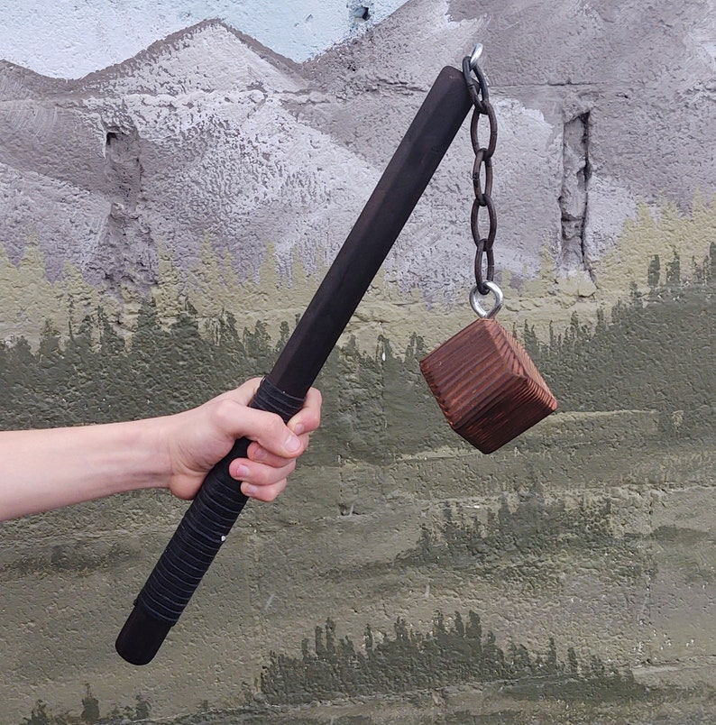 NOT FOAM Salvaged materials wood and steel mace flail