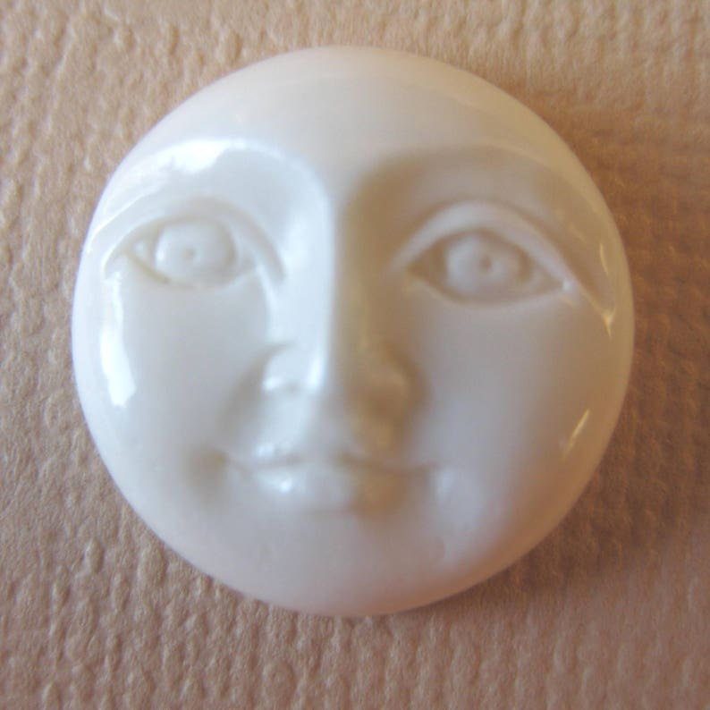 MS Carved Bone Moon Faces (2) 13mm Open Eyes Fair Trade Bali Indonesia