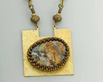 Boulder opal pendant necklace. No. 6.