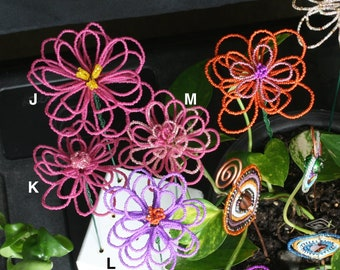 Beaded Indoor Flower Pot Planter Stakes. Colorful indoor pot decor.