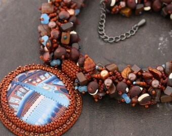 Bead Embroidery and Fringe Work Necklace. Polymer Clay Cab.