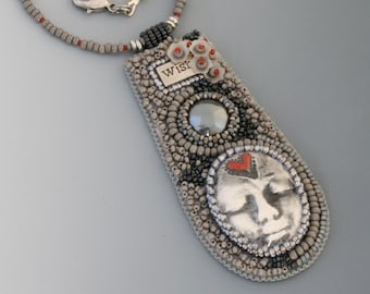Bead Embroidery Necklace. Wish. Face cabochon. Hemitite cabochon. Glass and resin beads.